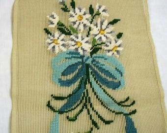 Vintage Needlepoint Canvas, Bucilla needlepoint tapestry, Unfinished Floral Needlepoint on Canvas, Needlepoint