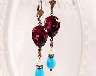 Statement Earrings - Purple - Victorian Earrings - Romantic - The GRAND TOUR