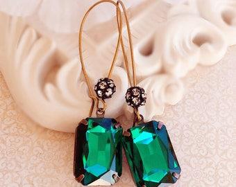 Green Dangle Earrings - Emerald - Green Drop Earrings - MADELINE Emerald
