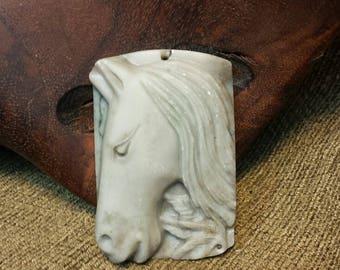 Greek Horse Profile in Ribbon Jasper