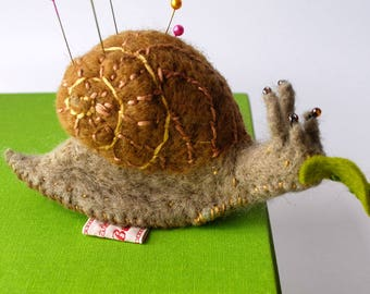 Original Handmade Needle Felted Hungry Snail  Pin Cushion