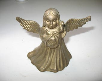 Vintage Brass Christmas Angel Bell, Christmas Angel Bell Playing A Harp or Mandoline,  Angel With a Musical Instrument Metal Bell