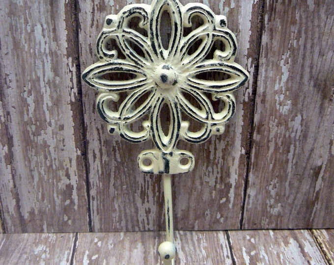 Floral Petal Cast Iron Hook Shabby Chic OFF White Home Decor
