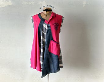 Fuchsia Pink Tunic Preppy Polo Shirt Recycled Clothing Funky Art Top Boho Style Women's Clothes Draped Lagenlook Eco Boho Shirt L XL 'ZOEY'