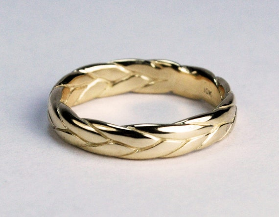 10k Yellow Gold Wide Braid Ring with Low Profile-US Size 5.25. Ready to ship.
