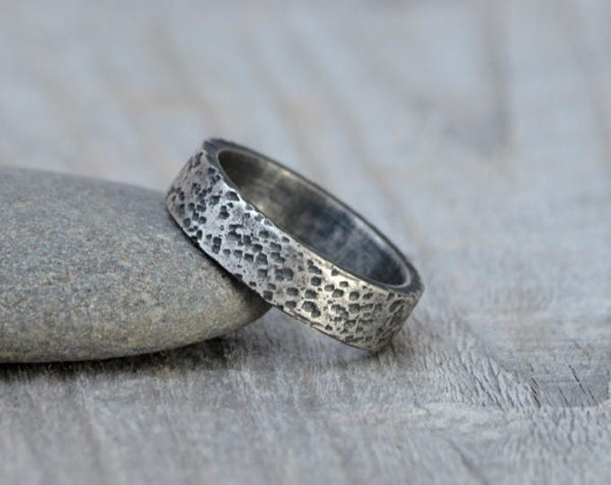 Cork Textured Wedding Band in Sterling Silver With Personalized Message Inside, 5.5mm Wide Rustic Wedding Ring
