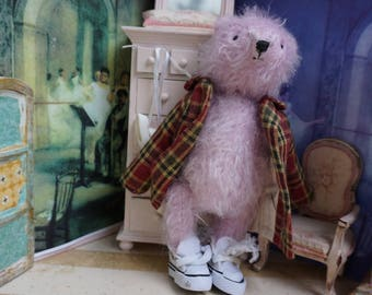 "OOAK Artist Bear - ERNEST - 6"" Tall  Orchid German Mohair Collectible Teddy Bear"