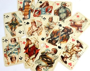 Vintage Single Playing Cards   12 FACE Cards   Kings Queens Jacks   Deluxe Illustrated Card Lot   Renaissance Medieval Royalty   FC-101