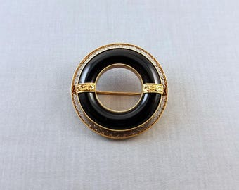 Vintage Art Deco 14k gold black onyx circle wreath filigree brooch pin
