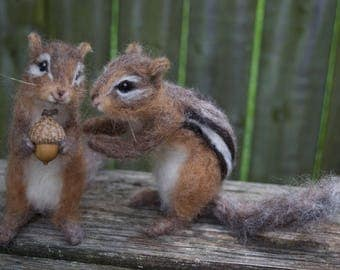 Needle Felted Chipmunk, Realistic, Life sized poseable