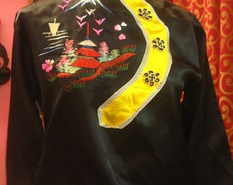 """1950's, 38"""" bust, 3 piece Chinese robe and pajama set"""