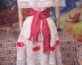 Mexican Dress, Off Shoulder, Embroidered, Lace, White, Christmas, Red Flowers, M