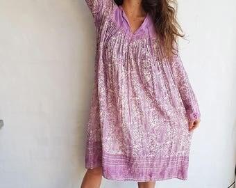 Vintage 70s Indian Cotton Gauze Dress