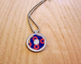 Phish Necklace for Summer Concert Festivals, Donut Photo Pendant for Baker's Dozen at MSG Tour, Blue and Red Jewelry, Fishman Circle Gifts