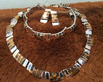 Gorgeous Taxco Tiger Eye and Sterling Silver Modernist Necklace Bracelet Earrings Set - 950 FINE SILVER - Signed TS-101 Mexico