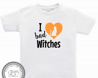 Halloween Shirt- I love bad Witches- Baby First Halloween Outfit- toddler infant Kids Trick or Treat- Halloween Party Shirt- Black Cat- #021