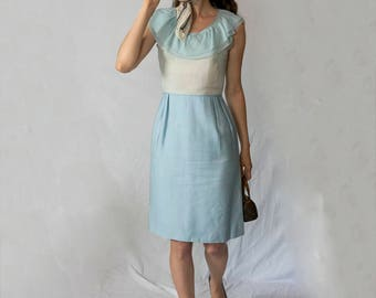 Small light blue 1950 1960 dress pencil wiggle