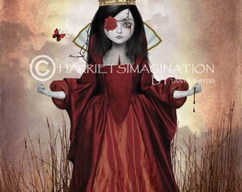 Gothic Art Print - Gothic Fairytale Art - Goth Girl Art - Wall Decor - Queen Of Hearts