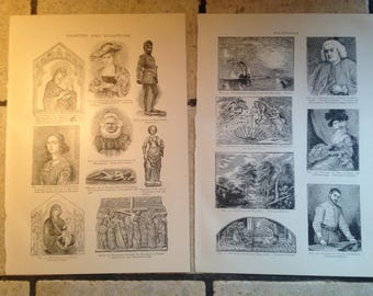 1890 Painting and Sculpture Antique Illustrations