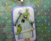 Nesting Finch Glass Pendant, Fused Glass Jewelry Handmade in North Carolina