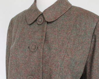 60's / 70's Cropped Wool Jacket / Green & Red Tweed Blazer / Covered Buttons / Medium