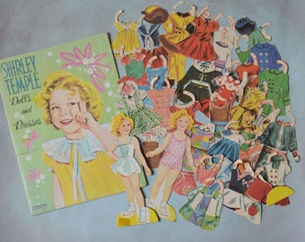 Vintage Shirley Temple Paper Dolls and Dresses in Folder Saalfield