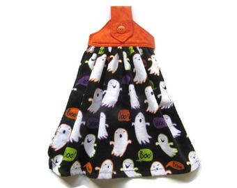 Hanging Halloween Kitchen Towel - Ghosts Hanging Towel - Fabric Top Velour Kitchen Towel - Button Top Towel - Ready To Ship