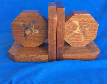 Vintage Wooden Bookends with Flying Birds Geese Home Décor Deco 20's Mid Century Modern 40's 50's