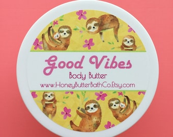 Good Vibes Body Butter | Lotion | Fruity | Birthday | Citrus | Unique | Gift for Her | Cream | Bath | Beauty | Mom | Cute | Happy | Hippy |