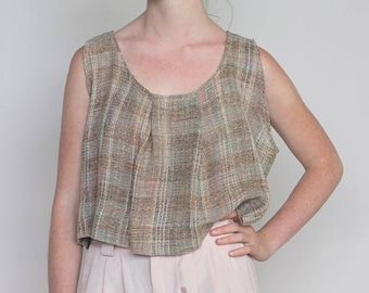 breeze -- handmade one-off cropped top from vintage woven fabric S/M/L