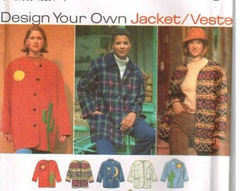 Sewing Pattern Loose Fitting Jacket Barn Coat Simplicity 9287 Misses Easy to Sew Size XS S M Small Medium  Bust Chest 30.5 32 34 36 38