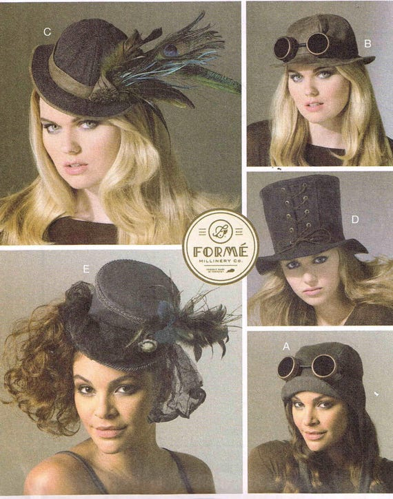 Steampunk Sewing Patterns- Dresses, Coats, Plus Sizes, Men's Patterns Millinery Steampunk Hats Sewing Pattern McCalls 7335 Misses Womans Cosplay Top Hat Aviator Helmet Cap Tilted WW2 Uncut Factory Fold $8.00 AT vintagedancer.com