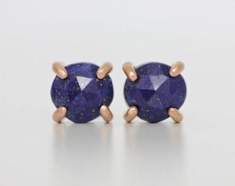 Lapis Lazuli Studs in 14k Rose Gold Prong Settings - Modern Cobalt Blue Gemstone Earring - Rose Cut Gemstone Post Earring - Minimalist Studs