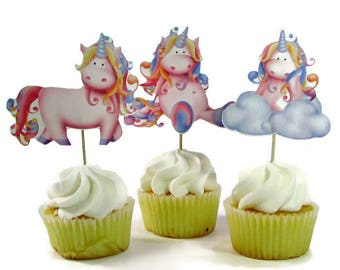 Unicorn Cupcake Toppers, First Birthday Party Decorations, Unicorn Cake Picks, Happy Birthday Cupcake Party Decor, Unicorns and Rainbows