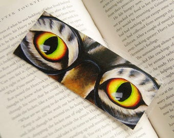 Harry Cat Bookmark, Tabby Cat Wearing Glasses Bookmark