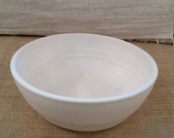Medium Ceramic Dog Water or Food Bowl: Handmade Pottery, White Matte Glaze, White Clay Body - OOAK!