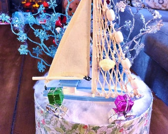 SALE - Blue White Sail Boat Tree Candy Canes - Winter Holiday Christmas Centerpiece