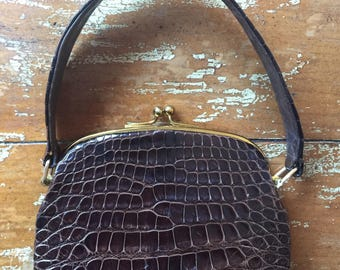 The Vintage 1960s Brown Alligator Skin Leather Mini Handbag Purse
