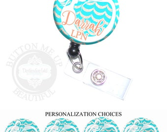 """1 1/2"""" Design Badge Reel - Personalized Turquoise Mermaid on Gold Waves Nurse Retractable Lanyard ID Holder (A445)"""