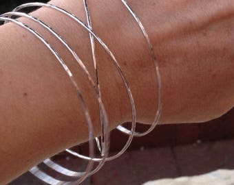 ONE Size 8 Bangle In Stock Ready to Ship- 14k White Gold Bangle/ Solid Gold Bangle/ Hammered Stacking bangle/ 1.3mm thin/ solid 14k gold