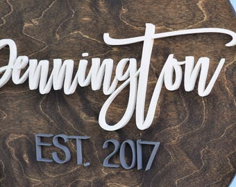 "24"" Round Family Established Sign, Last Name, Custom Wedding Gift, Housewarming Gift, 3D, Wedding Established Wall Hanging, Living Room"