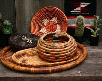 Antique Woven Coil Basket Bowl Native American Red Green Natural Vintage By Nowvintage on Etsy