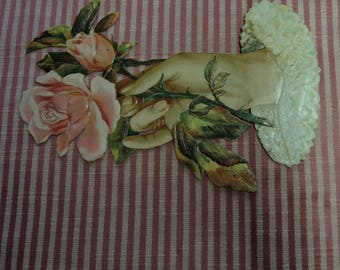 Gorgeous Large Antique Die Cut - Hand And Rose - Victorian Die Cut - Vintage Die Cut