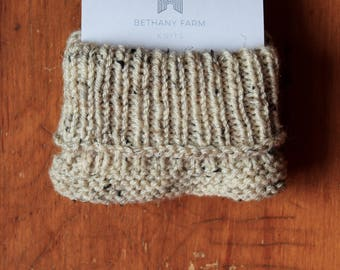 Oatmeal Tweed Ribbed Boot Cuffs