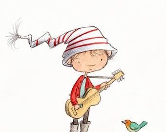 Filo's Guitar - Boy Playing Guitar - Art Print