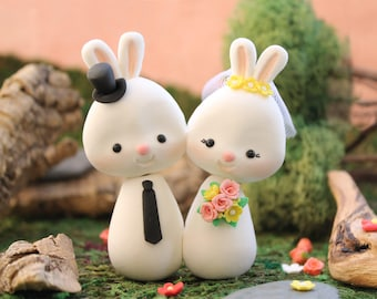 Cute Bunny wedding cake toppers - bride and groom figurines animals Rabbit personalized white pink yellow pastel colors wedding decoration