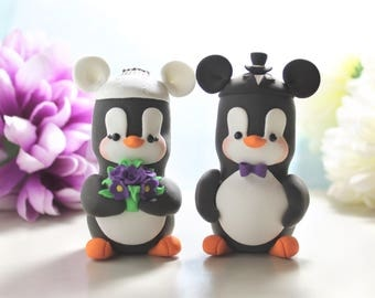 Mickey Mouse ears hats Penguins cake toppers wedding - Mickey Mouse inspired cartoon black white bride groom purple wedding cute funny