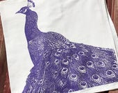 Peacock Bird in Purple Metallic - Hand Printed Flour Sack Tea Towel