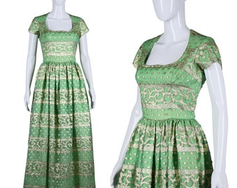 Green Brocade Gown 60s Embroidered Gown 1960s Maxi Dress Green Gold Brocade Dress