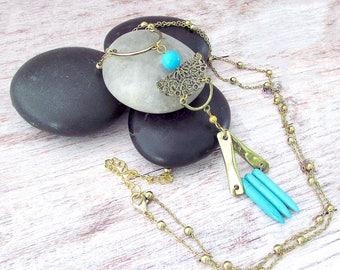 Boho Gemstone Layering Necklace - Womens Long Boho Necklace - Layering Boho Gemstone Necklace - Gold Boho Layering Necklace - Gifts for Her